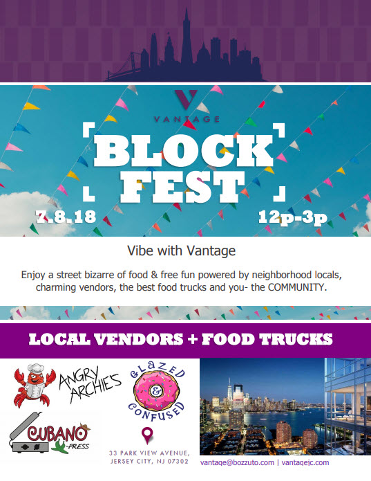 """VANTAGE IN DOWNTOWN JERSEY CITY TO HOST PUBLIC """"BLOCK FEST"""" ON SUNDAY, JULY 8TH event"""